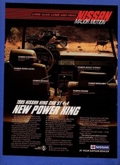 1984 Magazine Ad 9116 for 1985 Nissan King Cab St Pickup Truck Pick Up Nissan, Nissan 4x4, Nissan Trucks, Mini Trucks, Pickup Trucks, Nissan Frontier 4x4, Datsun Car, Magazine Ads, Retro Cars