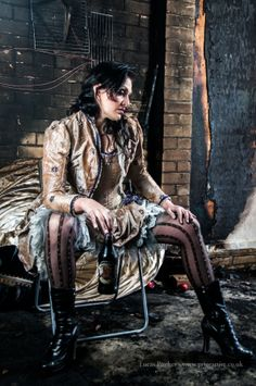 wedding dress damaged in a fire- here one from our most recent collection - the Steampunk Bride... www.priorengagement.co.uk