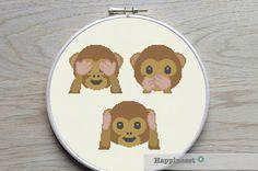 cross stitch pattern hear see speak emoji monkeys by Happinesst