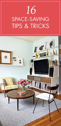 Don't let a small space prevent you from having big style in your apartment. Here are 16 helpful space saving tricks for a small apartment, studio, or home. More space means more room for chic design!