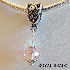 Pink Crystal October Birthstone Large Hole Charm by RoyalBeadz