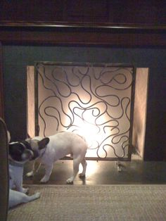 Squiggle fire screen with Frenchie love in the foreground. by #hearth art