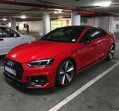The Audi RS 5 Coupe looks gorgeous in Misano Red and is our today Audi Sedan, Red Audi, Roadster Car, Lux Cars, Top Luxury Cars, Mercedes Car, Audi A5, Fancy Cars, Futuristic Cars