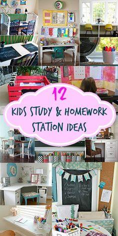 12 Kids Study & Art Station Ideas viz Kids Study Spaces, Kids Desk Organization, Kids Homework Station, Kids Schedule, Art Station, Home Learning, Teaching Kids, Homeschool, Kids Room