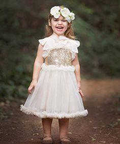 Look at this #zulilyfind! Ivory & Gold Sparkle Tulle Dress - Infant, Toddler & Girls #zulilyfinds