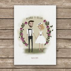 Wedding Invitation Bride and groom illustrated #illustration #weddingdesign #weddingillustration #wedding