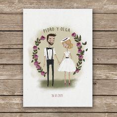 Custom couple wedding invitation  Wedding Invitation Bride and groom illustrated #illustration #weddingdesign #weddingillustration #wedding