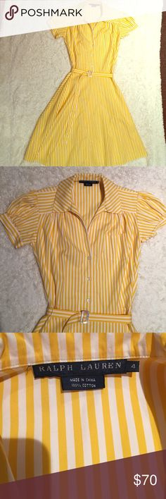 Ralph Lauren yellow white striped dress 4 new Beautiful and clean summer dress! Or winter with a cardigan! Just adorable. Zips on side and buttons half way up with belt- falls to knees. So adorable and classic! No tags but never worn Ralph Lauren Dresses Midi