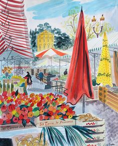 "Emily Sutton's ""Tomato Stall, Nice"" watercolour, as exhibited at Yorkshire Sculpture Park Heart Illustration, Glasgow School Of Art, Yorkshire Sculpture Park, Watercolour, Watercolor Paintings, Food Illustrations, Nice Italy, Environmental Art, Cute Art"