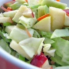 "Easy Apple Coleslaw I ""Wonderful recipe! I don't care for ""common"" coleslaw, so the bit of sweetness was awesome! I took this dish to a potluck and it was a hit :)"""