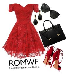 """""""ROMWE 3"""" by mejra-s ❤ liked on Polyvore featuring Kenneth Jay Lane, Aquazzura, MICHAEL Michael Kors and Chanel"""