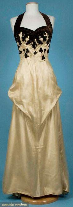Augusta Auctions, November 2009 Museum Fashion & Textile Sale, Lot 137: Silk With Velvet Applique Evening Gown, 1930s