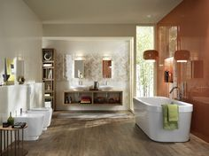 Natural materials in the bathroom - environmentally friendly and very trendy Marazzi Tile, Ceramic Wall Tiles, Trends, Amazing Bathrooms, Natural Materials, Corner Bathtub, Tile Floor, Interior Decorating, Sweet Home