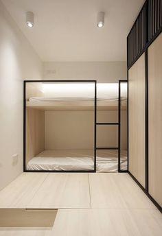 minimalist modern architecture, minimalist apartment design - My CMS Bunk Beds Built In, Modern Bunk Beds, Modern Bedroom, Modern Hotel Room, Cool Bunk Beds, Interior Minimalista, Bunk Bed Designs, Bedroom Designs, Minimalist Apartment