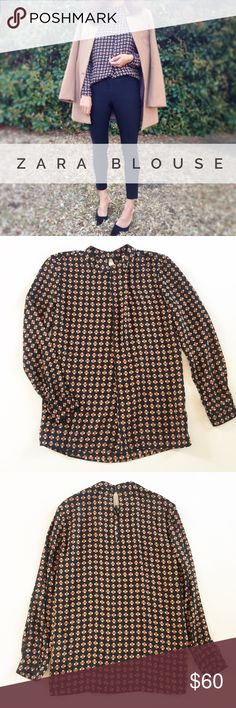 """Zara Blouse 100% polyester blouse by Zara, size XS. Retro style neckline, buttons at back of neck. Button cuffs. Sleeves have been professionally shortened to allow for stacking bracelets. Excellent condition. Laying flat: Approx. 14"""" across top of shoulders, 18.5"""" across chest, 25.5"""" center back length, 21"""" sleeve length. Dry cleaned and ready to wear! Zara Tops"""