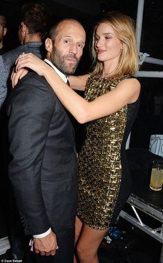 Rosie Huntington-Whiteley showers Jason Statham with kisses BRITs bash #dailymail