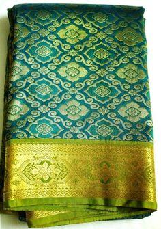 UE-MALLF62557523030 - Beautiful!! -  Peacock Blue Golden Pure Kanchivaram Saree