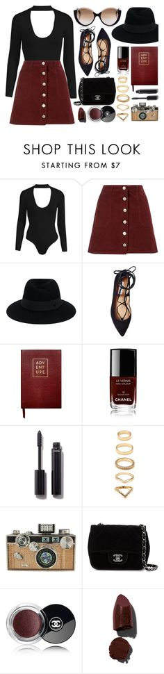 """Black & Burgundy"" by monmondefou ❤ liked on Polyvore featuring Miss Selfridge, Maison Michel, Steve Madden, Sloane Stationery, Chanel, Forever 21, Judith Leiber, Lipstick Queen and Cutler and Gross"