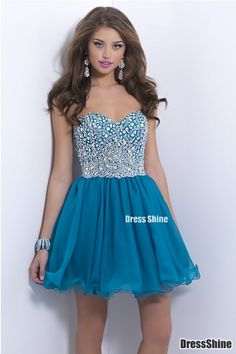 Gorgeous Sweetheart Organza and Beading Ink Blue Homecoming Dress - Sweet 16 Dresses - Homecoming | Cocktail | Party