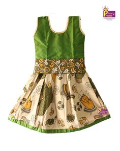 Best 12 Trendy kalamkari Cotton Pattu Pavadai Sleeves are attached inside separately – SkillOfKing. Long Frocks For Girls, Dresses Kids Girl, Kids Outfits, Baby Dresses, Kids Indian Wear, Kids Ethnic Wear, Baby Dress Design, Frock Design, Kids Party Wear