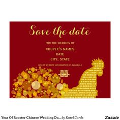 Year Of Rooster Chinese Wedding Double Happiness Postcard