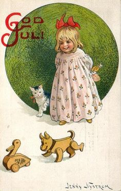 Christmas Girl and a Cat Jenny Nystrom 1914 | Flickr - Photo Sharing!