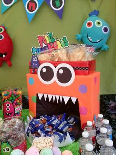 Candy Bar Monstruos Monster First Birthday 1st Birthdays Parties