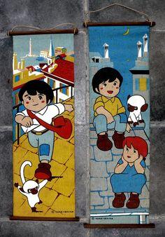 PRECIOSAS BANDANAS TIPO CUADRO INFANTIL TELA MARCOS Y MONO AMEDIO AÑOS 70 TAURUS Y BETA FILMS (Vintage - Decoración - Varios)