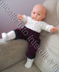 11d09cf089d7a tuto gratuit poupée et bébé  véritables chaussettes mailles croisées  aux  aiguilles droites