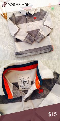 Mini Boden long sleeve polo Grey and cream striped polo, size 2-3t,with orange and green detail.cream patches on the elbows.EUC. No stains.smoke free pet free home Mini Boden Shirts & Tops Polos