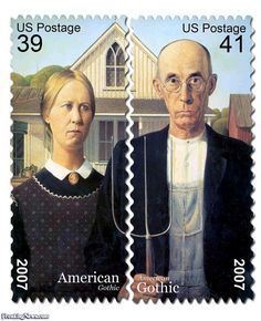 American Gothic by Grant Wood.  Postage Stamp U.S 2007