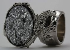 DRUZY STYLE KNUCKLE ART RING SILVER SPARKLE CHUNKY ARTY WOMEN STATEMENT JEWELRY  #Unbranded