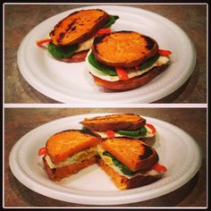Paleo Sweet Potato and Egg Sliders. I forget how tasty the sweet potato is when sliced. The sweetness with the mushroom, pepper and egg is wonderful!