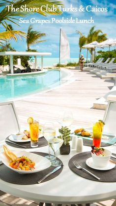 Poolside Lunch at Sea Grapes, The Shore Club Turks & Caicos Amazing Hotels, Best Hotels, Amazing Places, The Turk, Turks And Caicos, Home And Away, Beaches, Travel Inspiration, Vacations