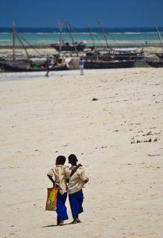 Nungwi Beach, Zanzibar - Best friends on their way home from school.