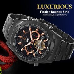 Awesome product now available at Wrist Gear Enterprises: FORSINING Men's A...  Visit now: http://wristgearenterprises.com/products/forsining-mens-automatic-stainless-steel-bracelet-tourbillon-analog-dress-wristwatch-color-black-with-gift-box-color-black?utm_campaign=social_autopilot&utm_source=pin&utm_medium=pin