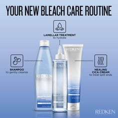 This is the perfect system for anyone who bleaches their hair. It will protect and hydrate, while mending any damage that can occur from bleaching! Products For Damaged Hair, Redken Hair Products, Best Blonde Shampoo, Redken Shampoo, Dry Brittle Hair, Remove Unwanted Facial Hair, Nourishing Shampoo, Hair Cleanse, Hair