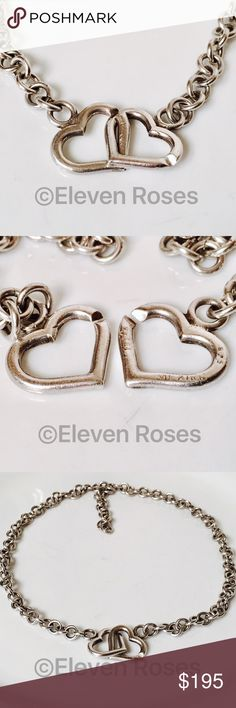 "Sterling Silver Interlocking C Clasp Heart Choker Sterling Silver Heart Clasp Chain Necklace - 925 Sterling Silver - Interlocking Hearts 'C' Clasp - Weighs Approx 40 Grams  -  Measures Approx 16"" Long  -  Preowned / Preloved   May Show Slight Signs Of Having Been Worn.     Listing Images Are Of Actual Item Being Offered Jewelry Necklaces"
