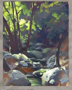 Nathan Fowkes: A favorite hike from me is through Angeles Crest forest down to Schweitzer Creek with my sketch kit in tow! #gouachepainting…