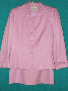 Sz 12 Le Suit Straight Skirt Set MOB Career Lilac Lace 3/4 Sleeve Turn Cuff