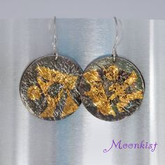 Ready to Ship Keum Boo Dangle Earrings by MoonkistGallery. These unique dangle earrings are crafted from Reticulated Sterling Silver with 24 K Gold foil using a technique called Keum Boo.  Visit moonkistgallery.etsy.com to see more pieces from this collection!  Repin these stunning earrings to your own inspiration board!