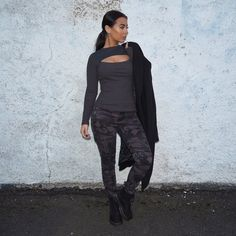 @ missjoslin wears the Charcoal Rib Cut-Out Top & Navy Camouflage Skinny Cargo Trousers