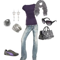 I like the light jeans and dark purple/grey combo