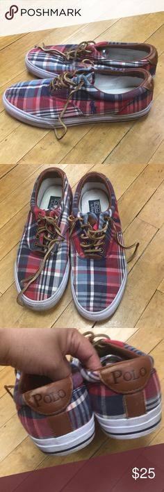Size 11D Plaid Sneakers Polo Ralph Lauren GUC plaid casual shoes, sneakers by Polo Ralph Lauren Shows wear as pictured but still has plenty miles left on it.   It's comfortable looking good to pair with summer khaki shorts or plaid shorts of the same color.   Can be preppy or skater look  See pictures for full details  Make me an offer.  Also listed is a grey flannel plaid shoes of the same size and brand Bundle and Save Polo by Ralph Lauren Shoes Sneakers