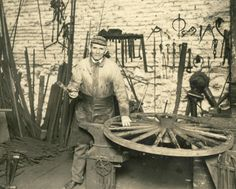 ca. 1920's.  Mr. Henry Wenninger, blacksmith.  From the General Collection at the Delaware Public Archives.