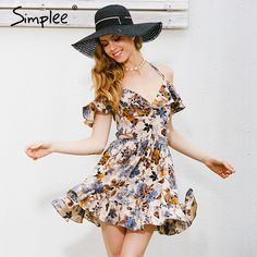 17d2449f0caf Simplee Halter off shoulder summer dress women hollow out floral print  party dresses Elastic high waist sexy dress vestidos