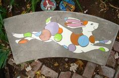 Mosaic Benches with rabbit design