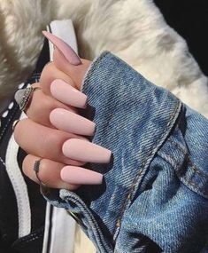In search for some nail designs and ideas for the nails? Here's our list of 33 must-try coffin acrylic nails for stylish women. Best Acrylic Nails, Matte Nails, Acrylic Nail Designs, Gel Nails, Light Pink Acrylic Nails, Coffin Nails, Blush Pink Nails, Pink Coffin, Glitter Nails