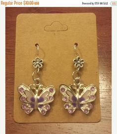 ON SALE NOW Butterfly and Flower Earrings  Silver by 331main