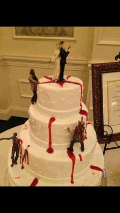 This kinda reminds me of the walking dead a little lol btw this is a wedding cake XP